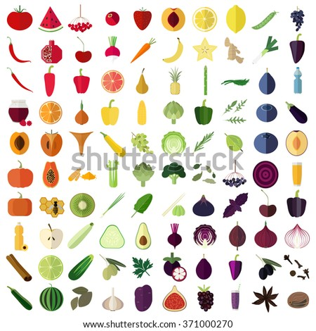 Big set of flat icons of vegetables, fruits, herbs and spices. Rainbow food. Healthy life style. Fruits and vegetables in red, orange, yellow, green, blue and purple colors. - stock vector