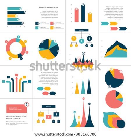 Big set of flat infographics elements. Chart, graph, diagram, scheme, flowchart, bubble included. - stock vector