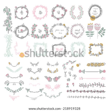 Big set of floral graphic design elements graphic, wreaths, ribbons and labels. - stock vector