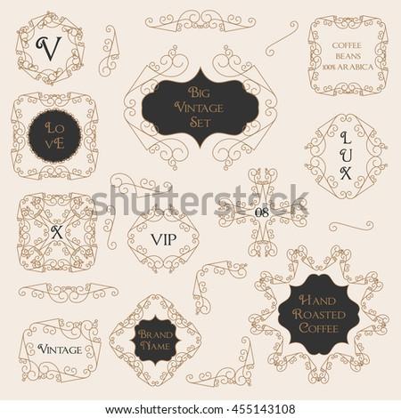 Big Set of Flourish Art Deco Frame, Elegant Border, Flourishes Corner Elements. Vintage  Calligraphic Ornaments. Luxury Greeting Decoration Design for Wedding or Birthday Invitations - stock vector