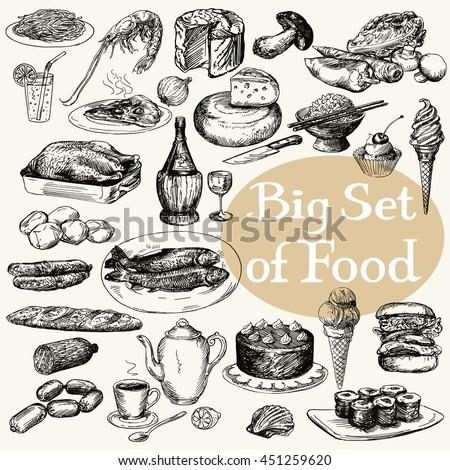 Big set of food product. Original detailed drawing. - stock vector