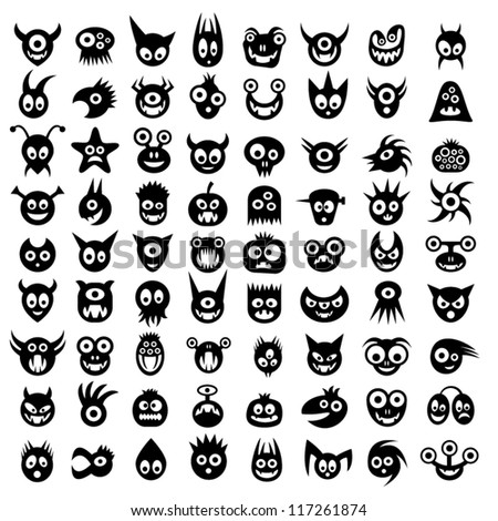Big set of funny monster icons. - stock vector