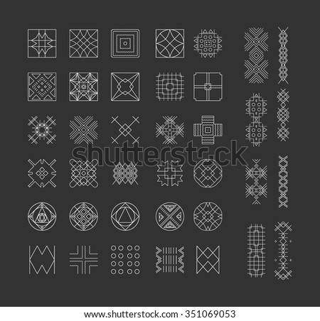 Big Set of geometric shapes. Trendy hipster icons and logotypes. Religion, philosophy, spirituality, occultism symbols collection