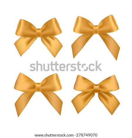 Big set of gold gift bows with ribbons. Vector illustration. - stock vector
