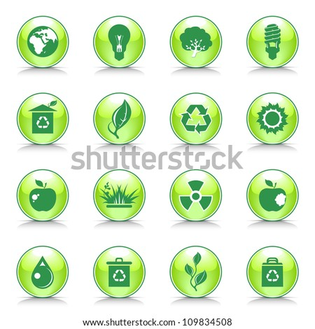 Big set of green eco button.