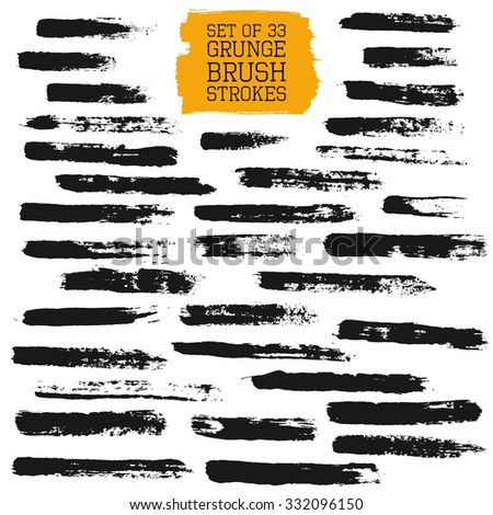 Big set of grunge brush strokes. Vector design elements for pattern brushes, frames, painted backgrounds, banners, labels, badge. Distress texture, black brush strokes isolated on white. EPS 10 vector - stock vector