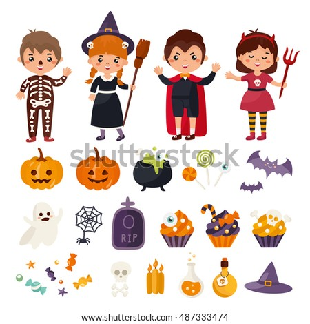 Big set of Halloween with cute kids character. Children in costumes. Vampire, witch, devil, skeleton and other traditional elements of Halloween.
