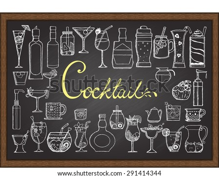 Big set of hand drawn cocktails on chalkboard. - stock vector