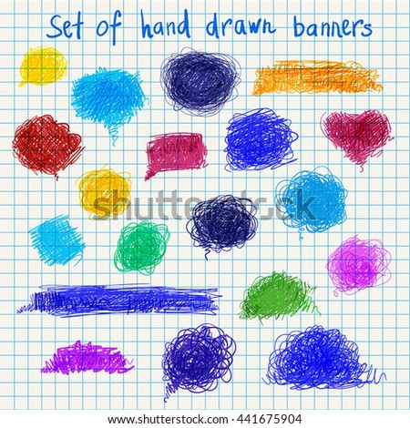 big set of hand drawn color banners vector illustration good for your design or web-design
