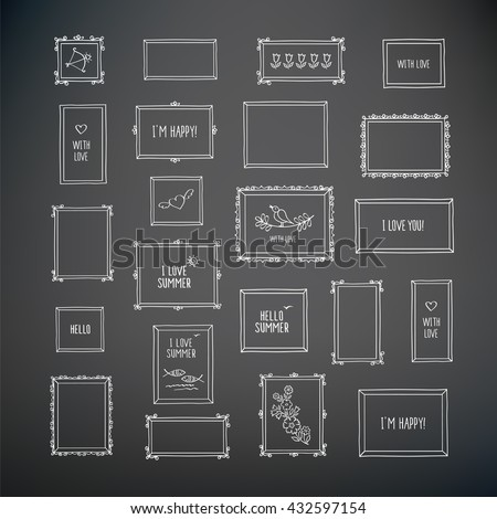 Big set of hand drawn decorative vintage square photo frames with pictures and words. Doodles, sketch for your design. Hand drawn with chalk on the blackboard. Vector illustration.