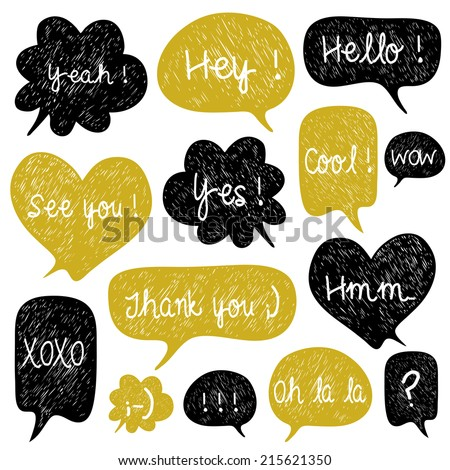 Big set of hand drawn speech bubbles. Doodle cartoon comic bubbles. Used for wallpaper, pattern fills, web page background,surface textures. - stock vector