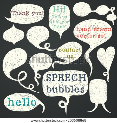 Big set of hand drawn speech bubbles on chalkboard background. Doodle cartoon comic bubbles. - stock vector
