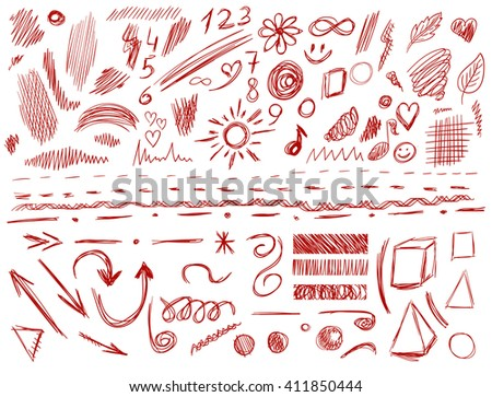 Big set of 105 hand-sketched design elements, pen drawings, VECTOR illustration isolated on white. Red scribble lines.