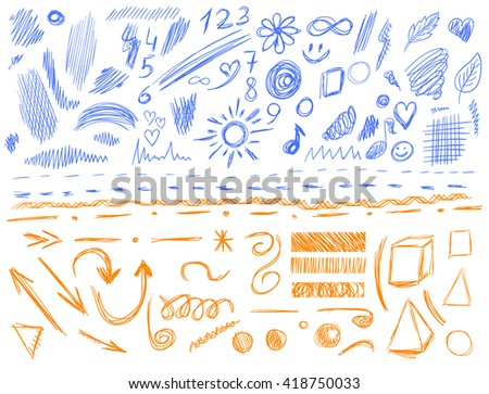 Big set of 105 hand-sketched design elements, pen drawings, VECTOR illustration isolated on white. Blue and orange scribble lines.