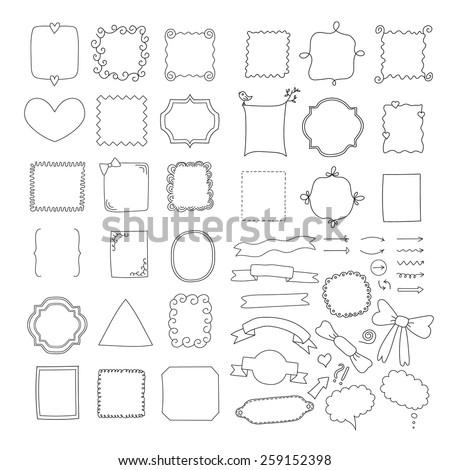 Big set of handmade frames, ribbons and arrows - stock vector