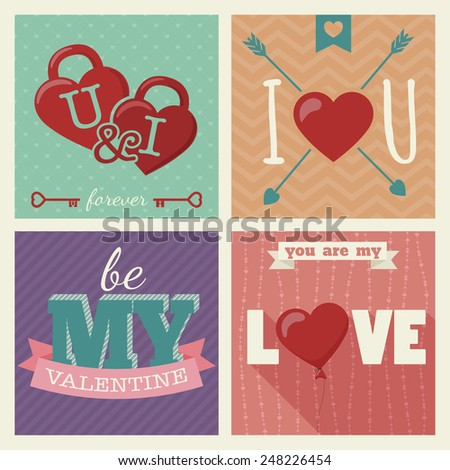Big set of Happy Valentine's Day love Hand Drawn Lettering greeting cards. Vintage posters with seamless pattern backgrounds in bright colors and decor elements - ribbons, arrows, balloons and locks - stock vector