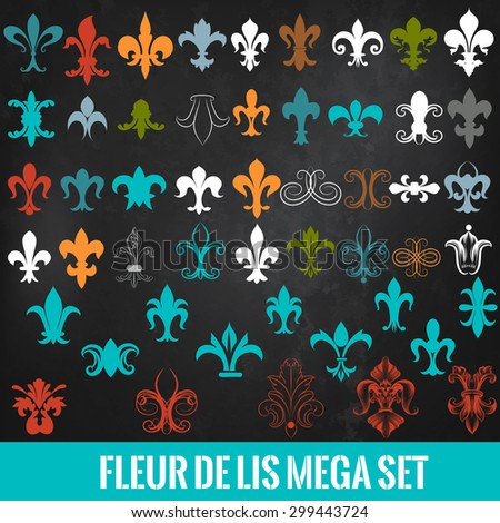 Big set of heraldic  fleur de lis shapes - stock vector