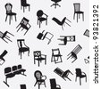Big set of home chair silhouettes seamless pattern - stock vector