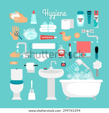 Big set of hygiene: bath, toilet, sink, sponge, shampoo, shower, soap, towel, toothbrush, toothpaste - stock vector