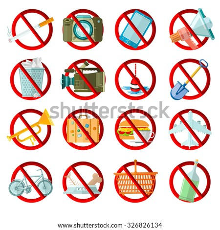 big set of icons bans in red circle isolated on white