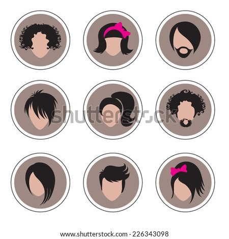 Big set of icons hair styling  - stock vector