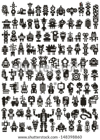 Big set of icons with monsters and robots. Poster - just print and enjoy. - stock vector