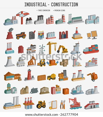 Big set of Industrial,construction, factory iconsThree dimension version,clean vector - stock vector