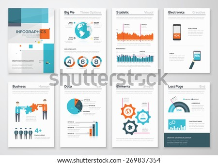 Big set of infographic elements in fresh flat business style. Vector illustrations of modern info graphics. Use in website, flyer, corporate report, presentation, advertising, marketing etc. - stock vector