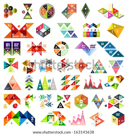 Big set of infographic modern templates - triangles and geometric shapes. For banners, business backgrounds, presenations - stock vector