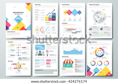Big set of infographic vector elements and business brochures. Modern styled graphics for data visualization. Use in website, flyer, corporate report, presentation, advertising, marketing etc. - stock vector