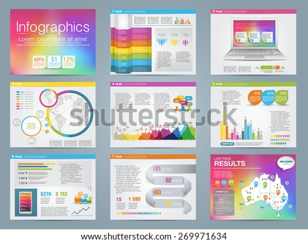 Big set of infographics elements business style. Rainbow color. Vector illustrations of modern infographics about IT. Use in website, flyer, corporate report, presentation, advertising, marketing.  - stock vector