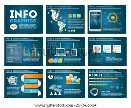 Big set of infographics elements in modern business style, IT infochat. Blue dark presentation template. Use in website, flyer, corporate report, presentation, advertising, marketing.  - stock vector