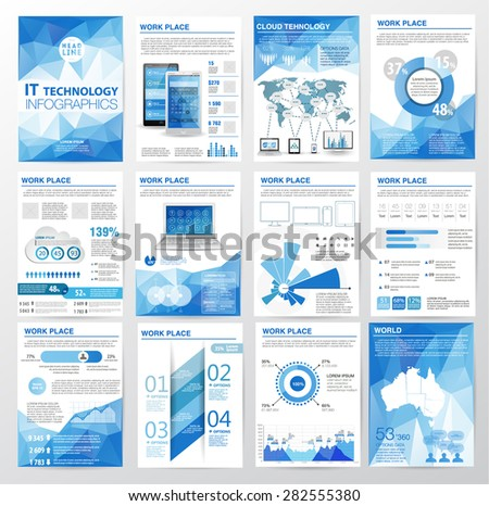 Big set of infographics elements in modern polygon business style.Vector illustrations of modern infographic about IT. Use in website, flyer, corporate report, presentation, advertising, marketing. A4 - stock vector