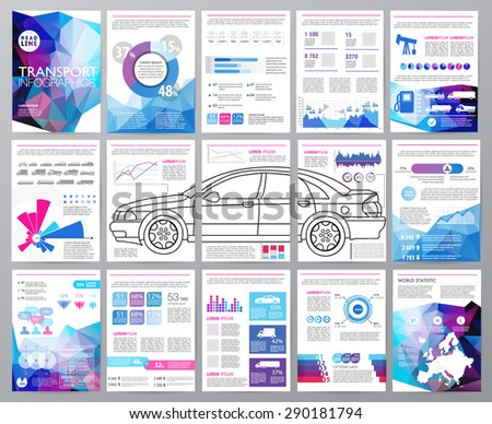 Big set of infographics elements, transportation infographics. Easy to edit map of Europe. Polygonal style. Use in website, flyer, corporate report, presentation, advertising, marketing. A4 - stock vector