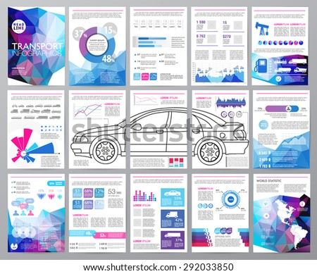 Big set of infographics elements, transportation infographics. Easy to edit map of North and South America. Polygonal style. For website, flyer, corporate report, presentation, advertising, marketing. - stock vector
