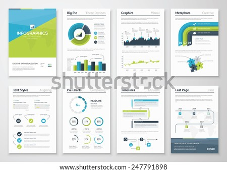 Big set of infographics vector elements and business brochures. Modern styled graphics for data visualization. Use in website, flyer, corporate report, presentation, advertising, marketing etc. - stock vector