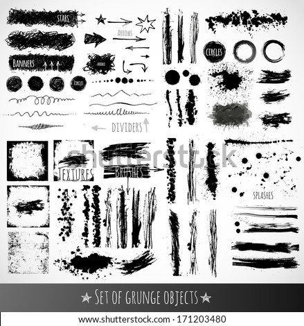 Big set of ink grunge objects for your design. Vector illustration. - stock vector