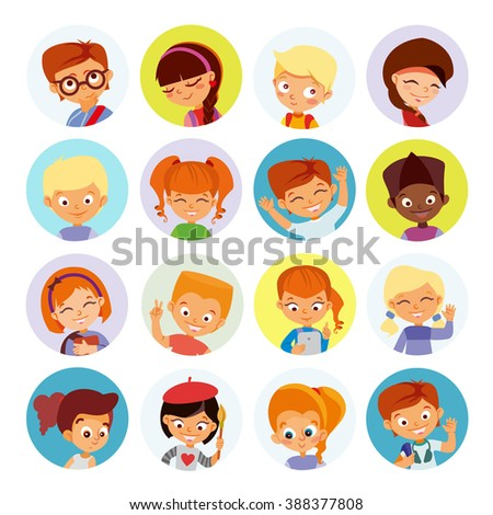 Big set of kids avatars,cute cartoon boys and girls faces with various emotions. Vector illustration set isolated on white background - stock vector