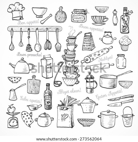 "Big set of kitchen sketch utensils hand-drawn with ink on white background.  Cups, teapots, pots. bottles. chopping boards ets.  Contains inscription ""Bon appetit"" in different languages."
