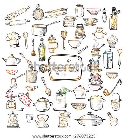 Big set of kitchen utensils hand-drawn with ink. Vector illustration.