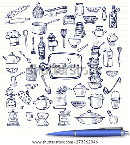 Big set kitchen utensils sketches handdrawn stock vector for Kitchen set drawing