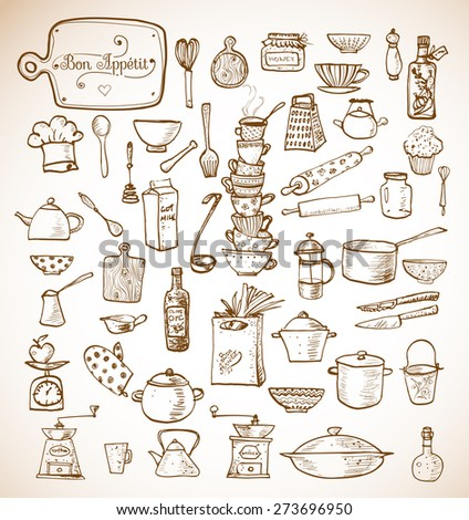 Big set of kitchen vintage sketch utensils hand-drawn with ink. Cups, teapots, pots. bottles. chopping boards etc. Vector illustration.