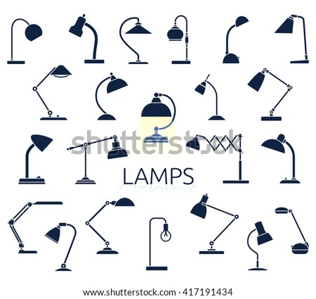 Big set of lamp icons. Flat style vector illustration.