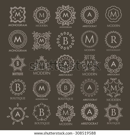 Big set of  Logos templates  calligraphic elegant ornament line designs. Floral motifs. Business sign, identity for Restaurant, Royalty, Fashion and other vector illustration. Monograms. - stock vector