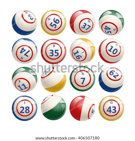 Big Set of Lottery Bingo Keno Billiard Balls. Vector illustration of Bingo Balls isolated on white. Bingo or lottery balls with numbers. Colorful Bingo illustration. - stock vector