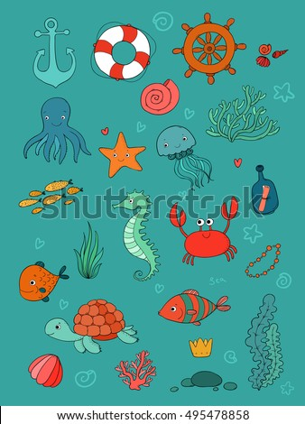 Sea Animals Children Stock Images Royalty Free Images