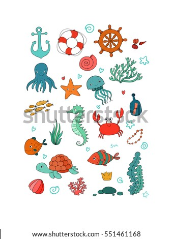 Big set of marine. Sea theme. Cute cartoon turtle starfish, funny fish, jellyfish and sea horse, seaweed and a bottle with a note. Vector.