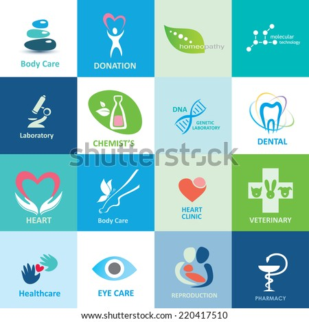 big set of medical icons, vector collection of emblems - stock vector
