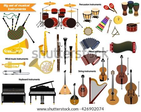 Big set of musical instruments - stock vector