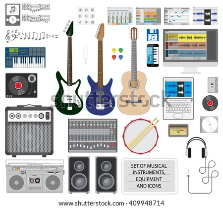 Big set of musical instruments, equipment and icons. Editable vector illustration